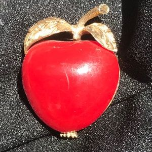 Jewelry - Brooch  pin Red apple with golden leaves
